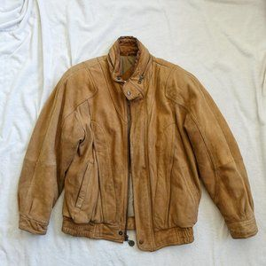 Vintage John Ashford Tan Leather Bomber Jacket